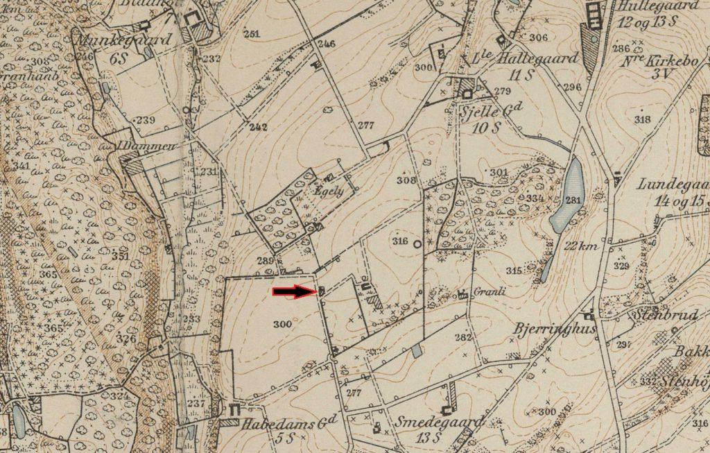 Kort fra 1914 med markering af Jesper Andersens hus
